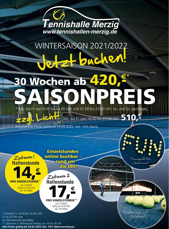 Angebot Tennishalle Wintersaison